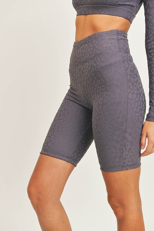 Plum Leopard Textured Biker Shorts