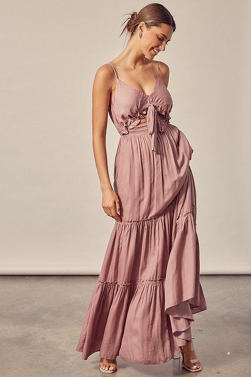 Mauve Tiered Maxi Dress