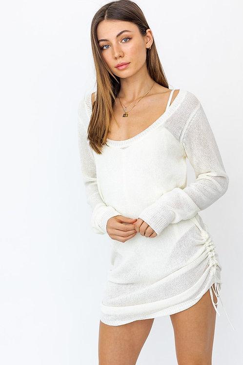 White Mesh Drawstring Dress/Cover Up