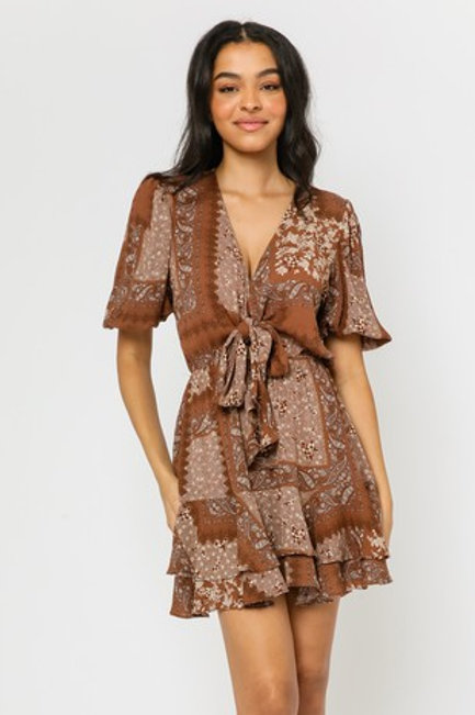 Brown Calico Dress