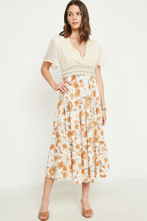 Blue & Orange Floral Skirt