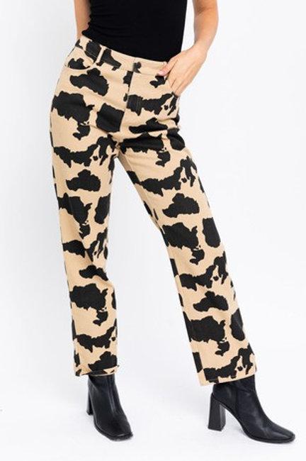 Tan Cow Print Pants