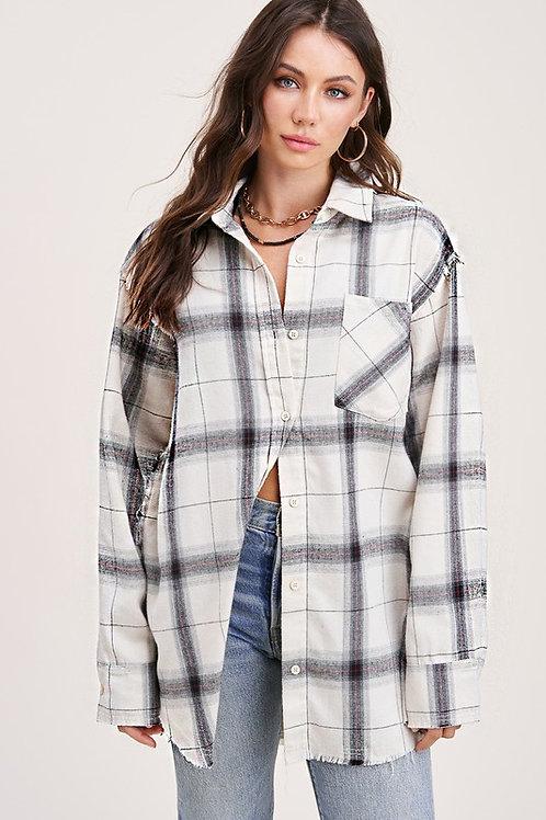 White Plaid Flannel