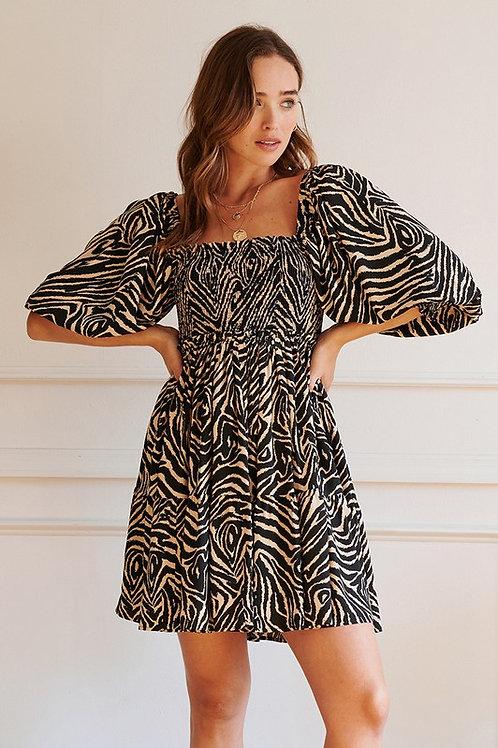Zebra Puff Sleeve Dress