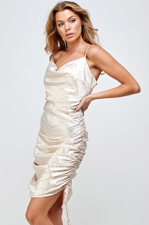 Cream Leopard Drawstring Dress
