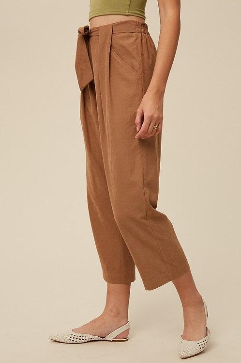 Camel Wide Leg Waist Tie Pants