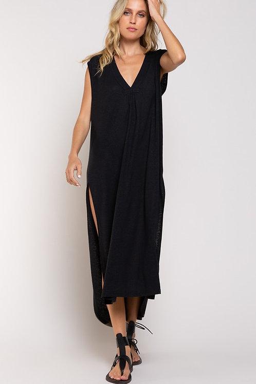 Charcoal Slit Maxi Dress