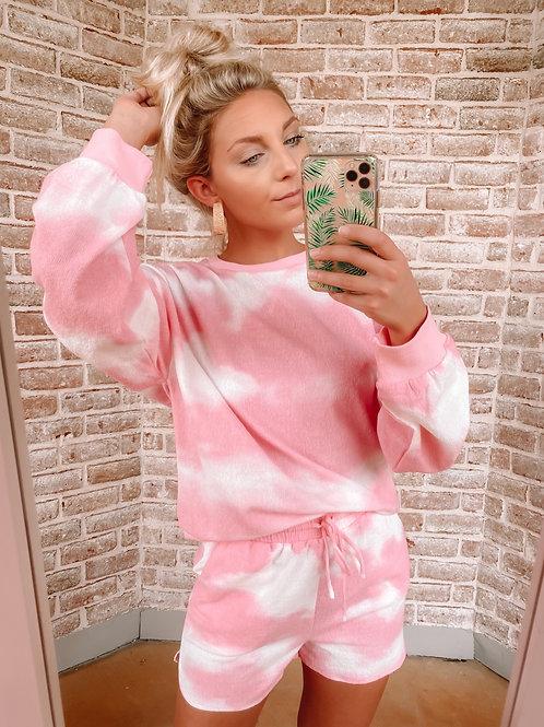 Hot Pink Tie Dye Sweater