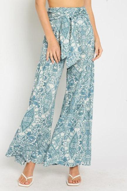 Blue Botanical Flare Pants