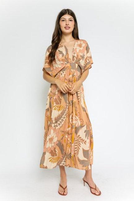 Rust Floral Print Maxi Dress