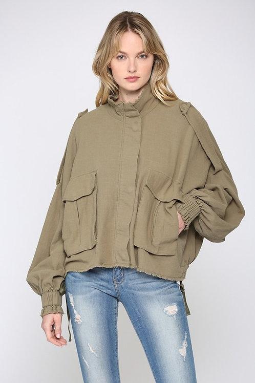 Olive Front Pocket Jacket