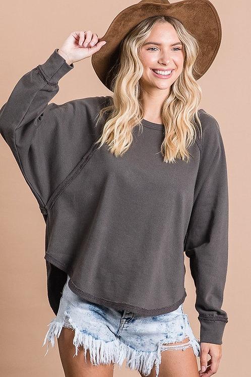Charcoal Round Hem Sweater