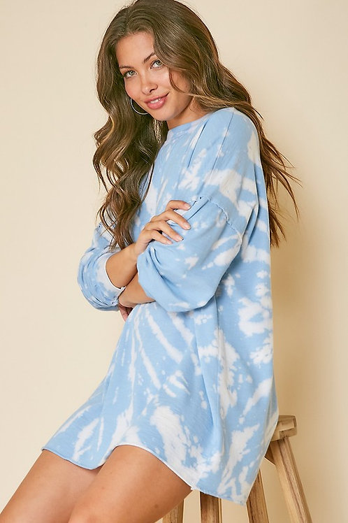 Blue Sky Tie Dye Shirt Dress