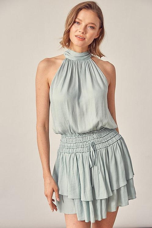 Mint Halter Smocked Dress