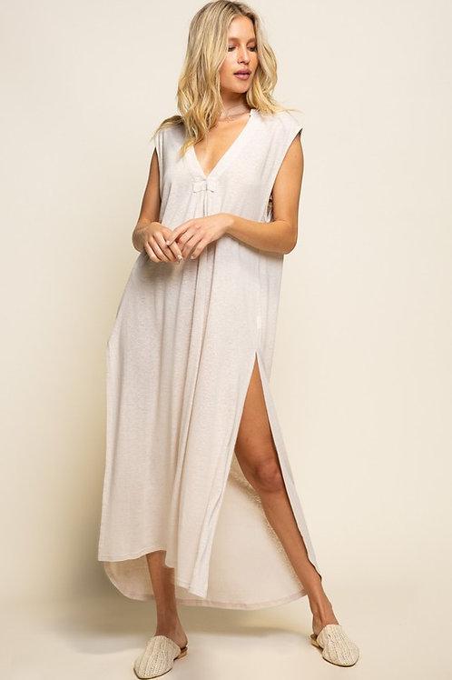 Beige Slit Maxi Dress