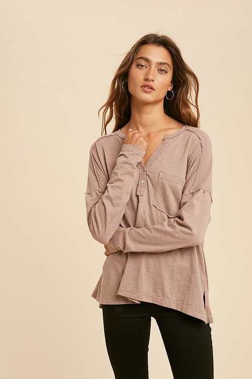 Rose Taupe Long Sleeve Henley Top