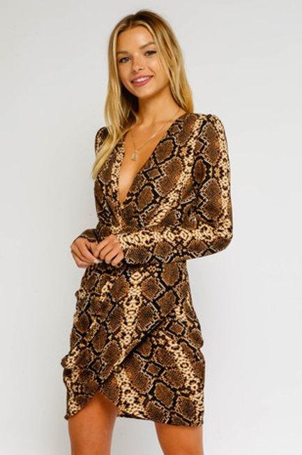 Snake Print Shoulder Dress