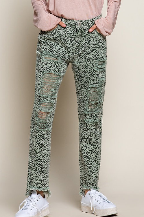 Olive Distressed Leopard Denim