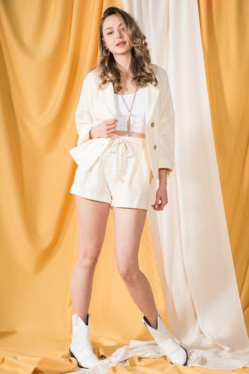 Cream Gauze Shorts