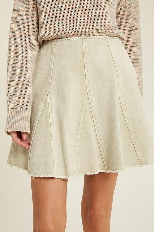 Ecru Flared Denim Skirt