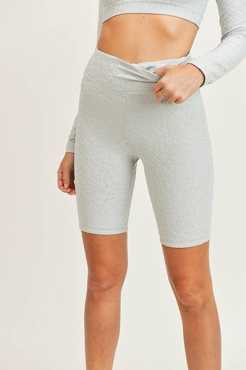Mist Leopard Textured Biker Shorts