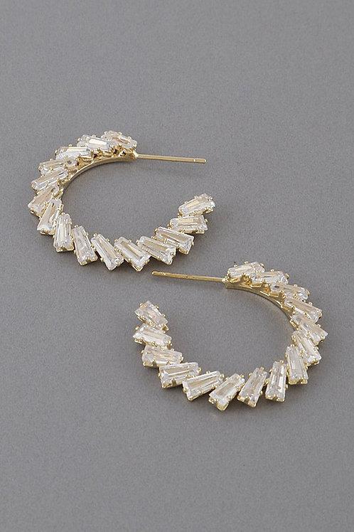 Rhinestone Half Hoop Earrings