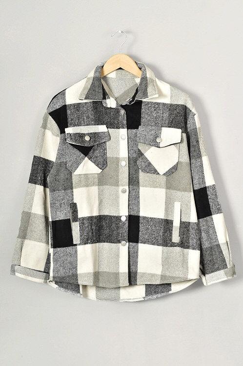 Black Plaid Shirt Jacket