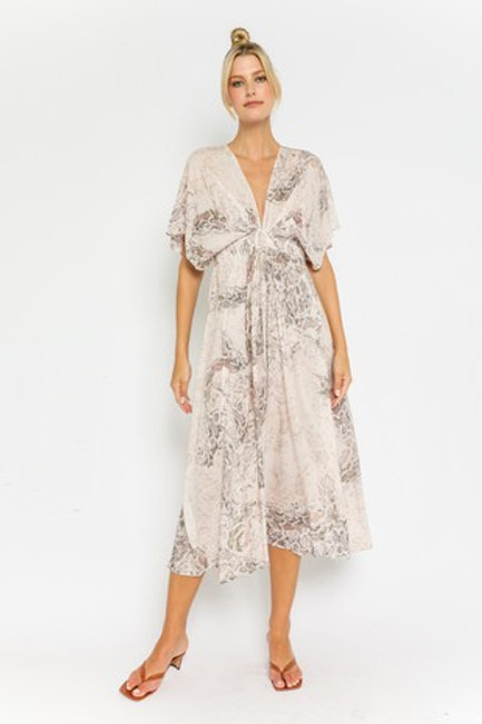 Light Blush Snake Print Maxi Dress