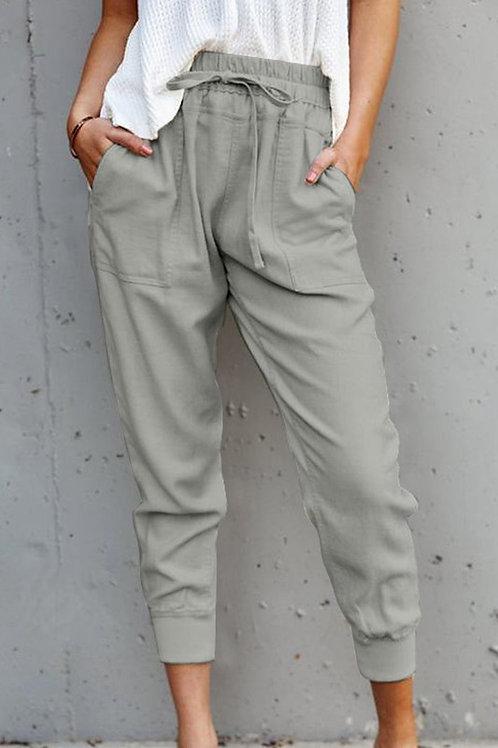 Grey Casual Pocket Joggers