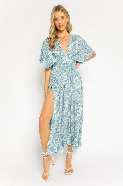 Blue Botanical Maxi Dress