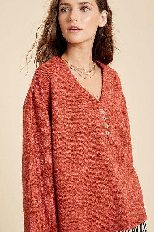 Rust Textured Button Sweater
