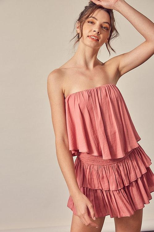 Rose Strapless Romper Dress