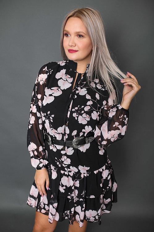 Artigli - Robe avec motifs fleurs roses - Noir