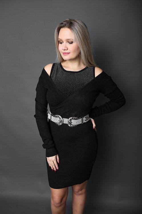 Robe pull avec doublure en strass - Noir