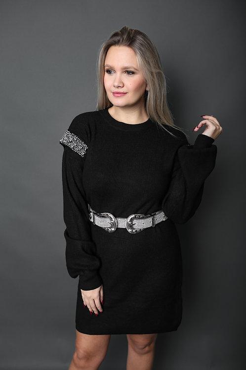 Robe avec épaules en strass - Noir