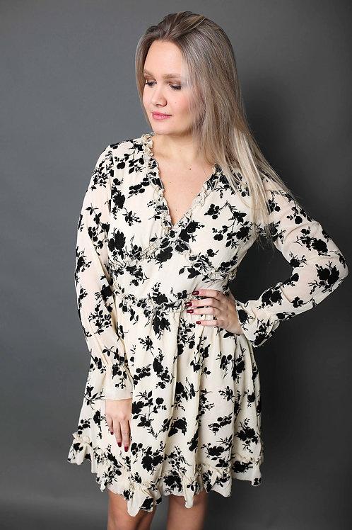 Robe fleurie - Beige