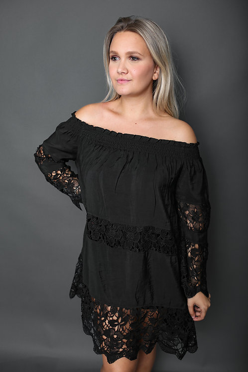 Robe de plage avec dentelle - Noir