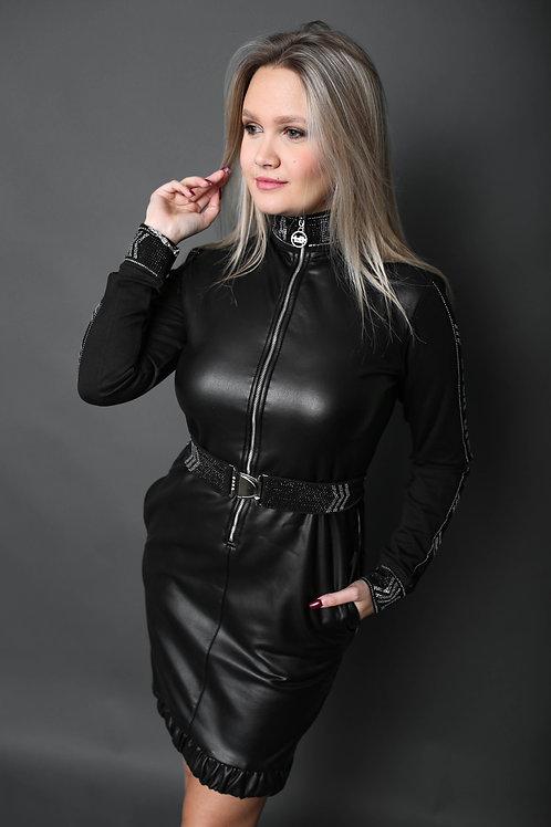 Lola & Bianka - Robe en similicuir avec ceinture - Noir