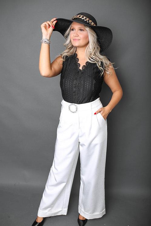 Pantalon avec ceinture à strass - Blanc