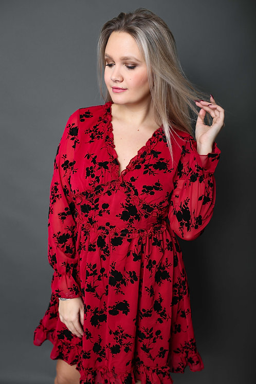 Robe fleurie - Rouge