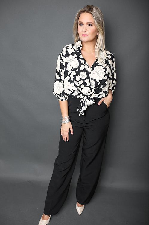 Pantalon large taille haute - Noir