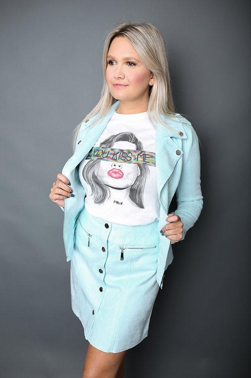 Veste perfecto en suédine - Turquoise