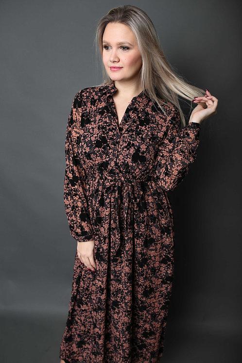 Robe à motifs rosés - Noir