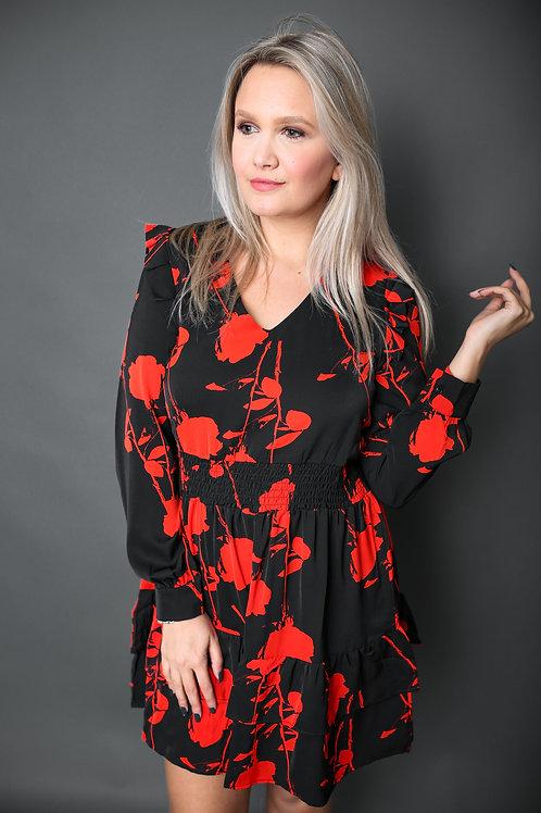 Robe avec taches rouges - Noir