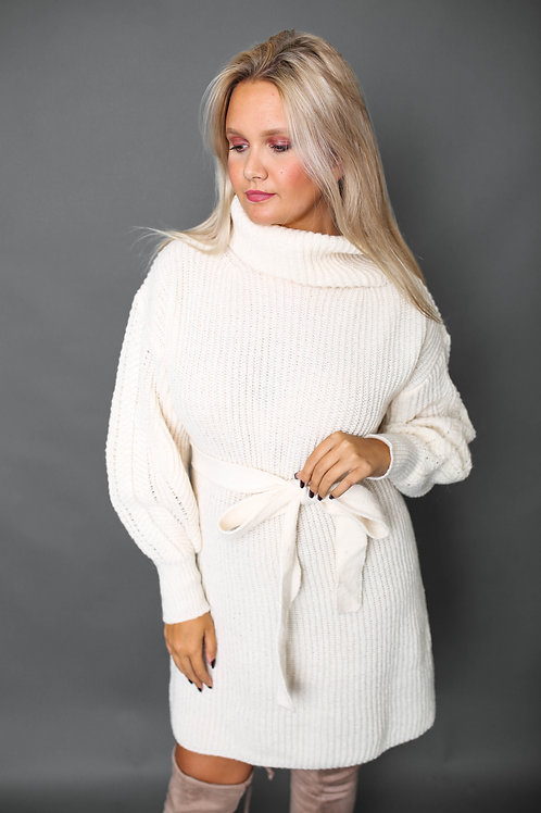 Robe-pull avec col - Beige