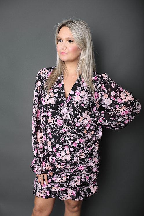 Robe fleurie fuschia - Noir