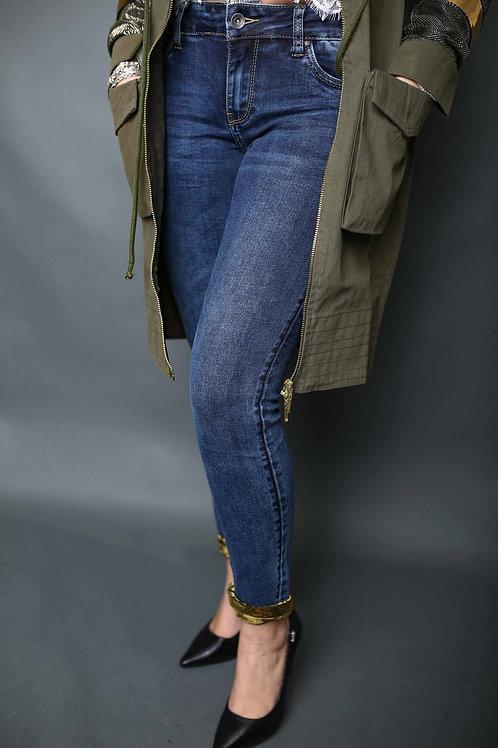 Jeans avec bords dorés - Bleu