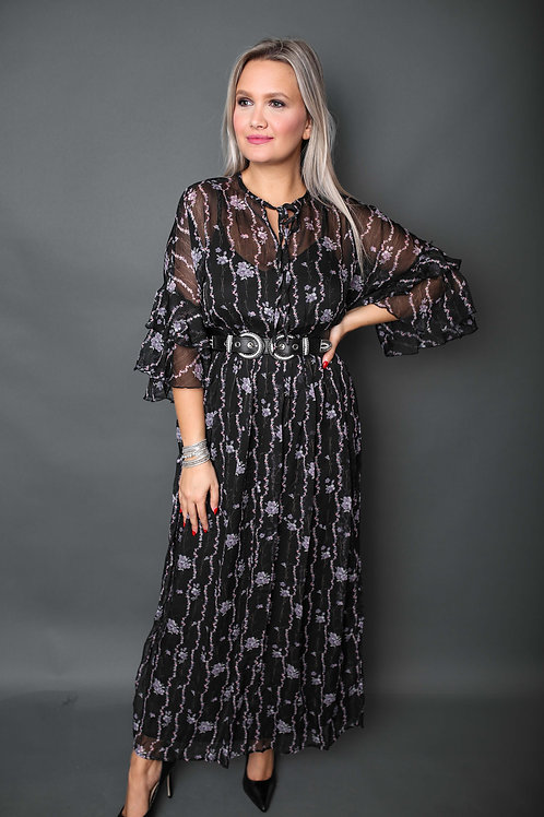 Robe à motifs lilas - Noir