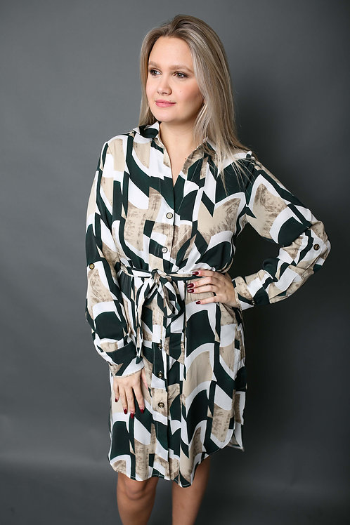 Robe à motifs verts - Beige