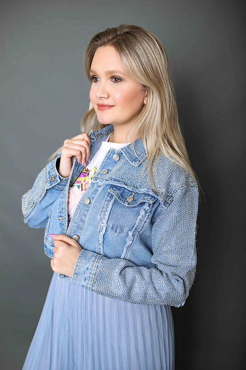 Veste en jeans courte à strass - Bleu